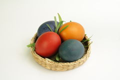 Easter eggs on the tray. Four colorful eggs on the tray Stock Photography