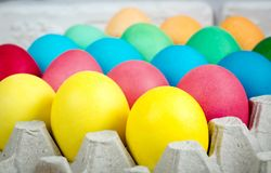 Easter eggs in tray royalty free stock photography