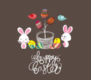 Easter eggs tree bunny and birds Royalty Free Stock Images