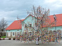 Easter eggs tree in Sveksna town royalty free stock images