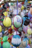 Easter eggs on a tree. In town center royalty free stock photography