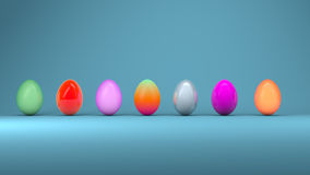 Easter eggs, trendy design concept, 3d illustration Stock Photography
