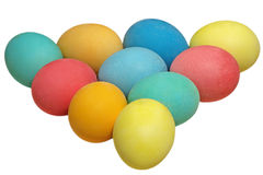 Easter eggs in a triangle pyramid.Isolated. Stock Photos