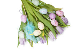 Easter eggs and tulip bouquet Royalty Free Stock Photo