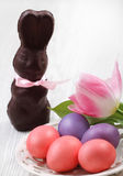 Easter eggs with tulip and chocolate hare Royalty Free Stock Photo