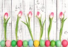 Easter eggs tulip flowers decoration Stock Photo