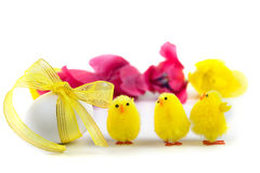 Easter eggs and tulips Stock Photo