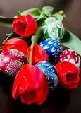 Easter eggs and tulips. Easter eggs among the tulips Stock Images
