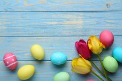 Easter eggs. With tulips on a blue wooden table Stock Photography
