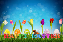 Easter eggs with tulips. Happy easter concept with tulips and easter eggs Royalty Free Stock Photos
