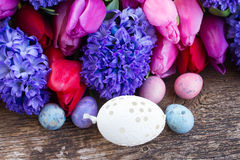 Easter eggs with tulips and hyacinth Stock Photos
