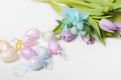 Easter eggs with tulips Royalty Free Stock Images