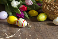 Easter eggs and tulips on wooden board Royalty Free Stock Photo