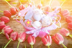Easter eggs and tulips on wooden planks. royalty free stock images