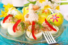 Easter eggs with tuna spread royalty free stock photos