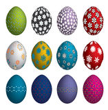Easter eggs. Twelve Easter eggs dyed with printing Royalty Free Stock Photos
