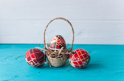 Easter eggs and twigs branch Stock Image