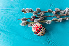 Easter eggs and twigs branch Stock Photography