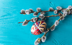 Easter eggs and twigs branch Royalty Free Stock Photo