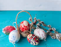 Easter eggs and twigs branch Stock Photos