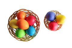 Easter eggs in two wicker baskets Royalty Free Stock Photos
