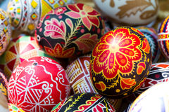 Easter eggs. With ukrainian ornament close up Stock Image