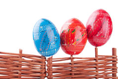 Easter Eggs on the Ukrainian Style Fence Royalty Free Stock Photography