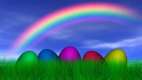 Easter Eggs Under a Rainbow Stock Image