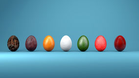 Easter eggs with unusual textures of fruits, 3d illustration Stock Photography