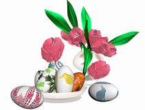 Easter eggs and a vase with tulips Stock Image
