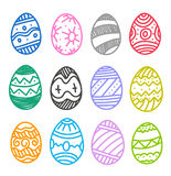 Easter eggs vector collection. Isolated on white stock illustration