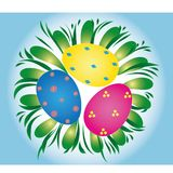 Easter eggs, vector. Colored Easter eggs lying on the grass Royalty Free Stock Photography