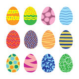Easter Eggs Vector Icons Set. Easter eggs. Vector set of easter eggs icons in flat style. Easter eggs isolated on white. Easter eggs symbols in various colors Royalty Free Stock Image