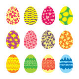 Easter Eggs Vector Icons Set. Easter eggs. Vector set of easter eggs icons in flat style. Easter eggs isolated on white. Easter eggs symbols in various colors Stock Photography