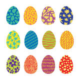 Easter Eggs Vector Icons Set. Easter eggs. Vector set of easter eggs icons in flat style. Easter eggs isolated on white. Easter eggs symbols in various colors Royalty Free Stock Photo