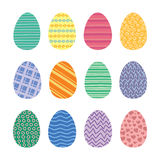 Easter Eggs Vector Icons Set. Easter eggs. Vector set of easter eggs icons in flat style. Easter eggs isolated on white. Easter eggs symbols in various colors Royalty Free Stock Photography