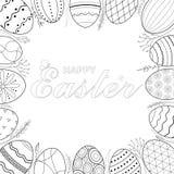 2018.03.08_easter eggs frame. Easter eggs Vector illustration. Black and white Easter background. Hand drawn vector illustration royalty free illustration