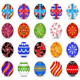 Easter Eggs. Vector illustration of Easter eggs with twenty patterns and bows Stock Photo