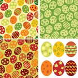 Endless backdrop Easter eggs. Vector seamless pattern and set of Easter eggs royalty free illustration