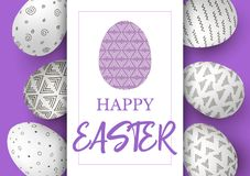 Easter eggs in vertical line with elegant ornaments on purple background. simple Nordic ornaments. Happy Easter. Hand font  illustration. template, decoration Stock Photography