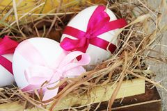 Easter Eggs in Vintage Box Close Royalty Free Stock Image