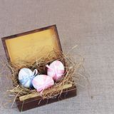 Easter Eggs in Vintage Wooden Box Stock Photo