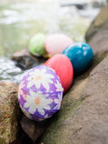 Easter eggs water fall. Easter eggs on the waterfall Royalty Free Stock Photography