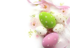 Easter eggs and watercolor background Stock Photography