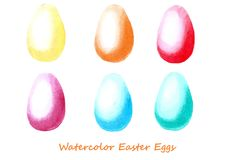Easter eggs Watercolor set. Design elements for background, banner,holiday card design. Hand painting artistic texture Royalty Free Stock Photo