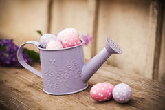 Easter eggs in watering can Royalty Free Stock Photography