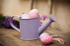 Easter eggs in watering can Stock Images