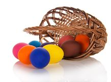Easter Eggs Which Have Dropped Out Of Basket Stock Photography