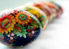 Easter eggs on white. Ukrainian handmade painted Easter eggs on white royalty free stock photo