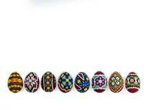Easter eggs on white background. A series of photographs of Easter royalty free stock photography